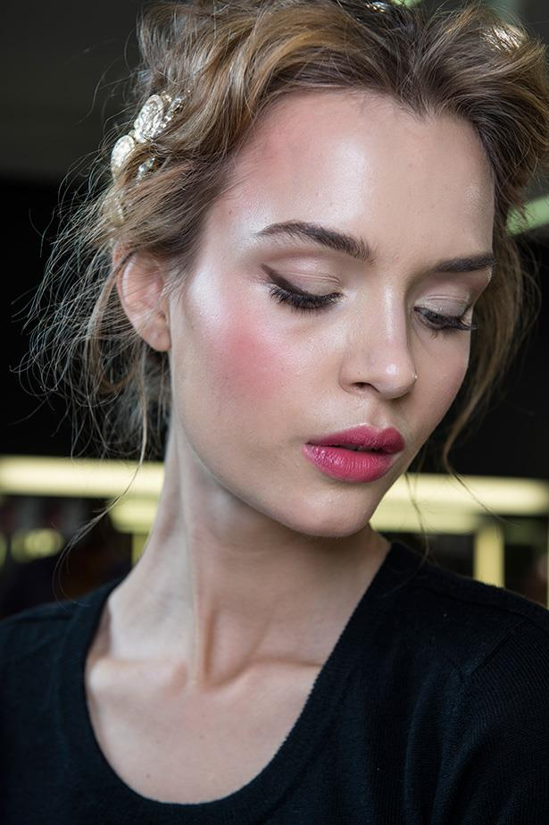 Try berry lipstick paired with blush for a rosy glow—a fussy, feminine look for engagement season.