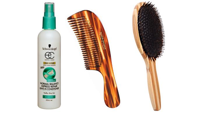 "<p><strong> Bullish brushing. </strong> Breakage occurs while brushing, but it is more likely to happen when hair is wet, because that's when hair becomes more elastic, says Schwarzkopf's National Technical Educator, Grant Withnell. His oldie-but-goodie trick of using a wide-tooth comb and a spritz of leave-in conditioner straight out of the shower helps to prevent unnecessary damage.  <br><br> Using a natural bristle (as opposed to a nylon) brush on dry hair will cause less breakage too – they help to better distribute oils from the scalp (plus any you might spray in) evenly from roots to ends.  Bumpy, open hair cuticles (caused by dehydration or friction) are the reason behind knotty hair. Withnell's trick? Use an oil mist spray to smoothen cuticles, making short work of a birds-nest situation. Normal Balance Express Repair Leave-In Conditioner, $6.29, Schwarzkopf, 1800 022 219 Comb Detangling, $29.95, Mason Pearson, 03 8587 4650. Be Natural Oval Cushion Brush, $19.95, Brushworx, <a href=""http://datelinecity.com"">datelinecity.com</a>"