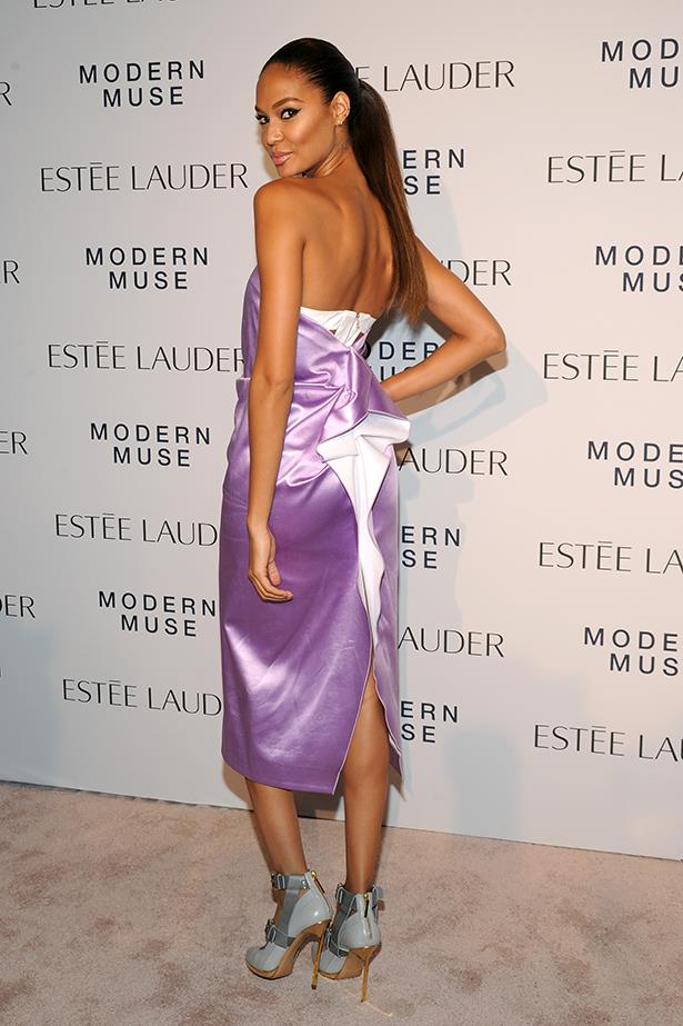 <p><strong>Model mention</strong></p> <p><strong>Joan Smalls</strong></p> <i>Image: Wearing Prabal Gurung at the Estée Lauder Modern Muse Fragrance Launch Party.</i>