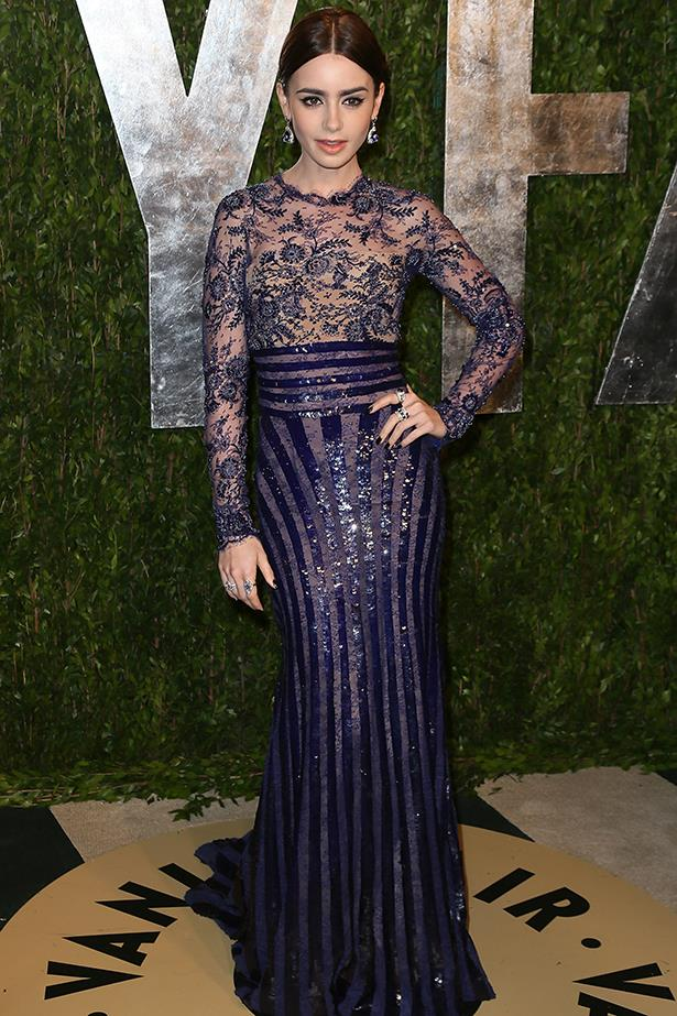 <p><strong>Most elegant display of midriff</strong></p> <p><strong>Lily Collins</strong></p> <i>Image: Wearing Zuhair Murad at the Vanity Fair Oscar party.</i>