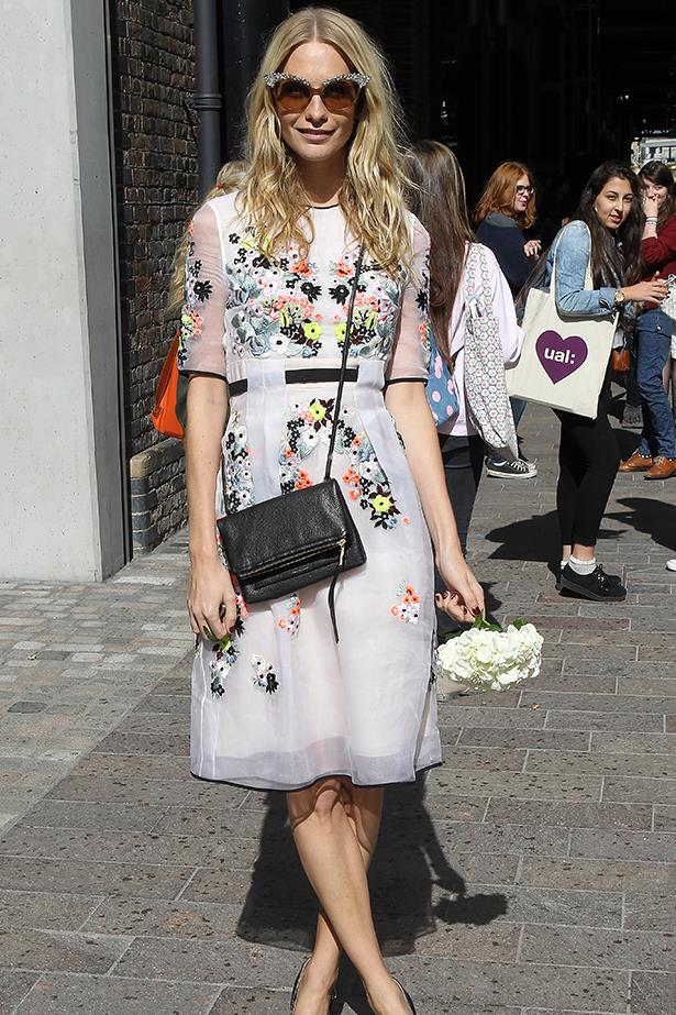 <p><strong>Best use of frills and florals by an adult</strong></p> <p><strong>Poppy Delevingne</strong></p> <i>Image: Wearing Erdem at London Fashion Week.</i>