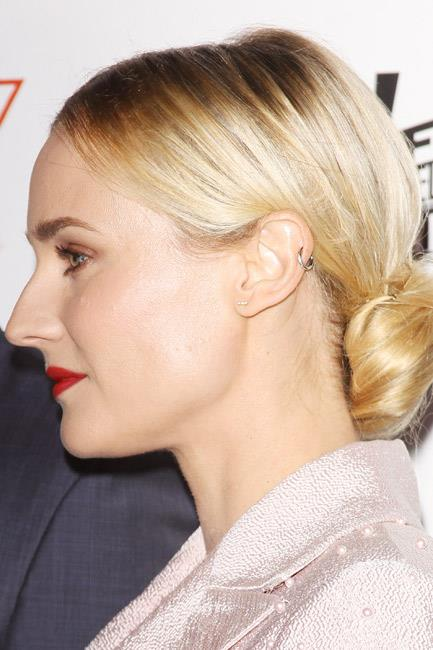 <strong>The new stud</strong><br> A thin bar-style stud is the look du jour as seen on Diane Kruger. The trendsetter went one step further and accessorised her accessory with a mid-ear ring, too.