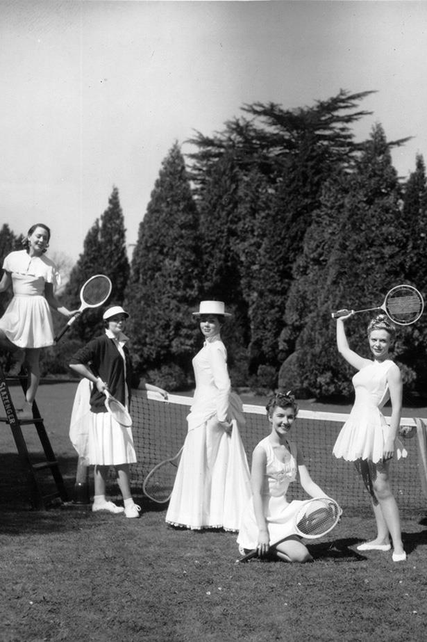 1956: Seven models wearing sportswear designed by Teddy Tinling at Wimbledon