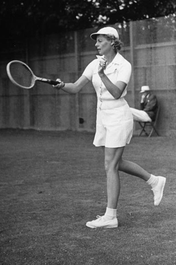 Challenging society's ideals for the first time in 1932, four-time ranked number one Alice Marble, took to the court in white shorts, revolutionising women's sporting attire.  Who dares wins, apparently.
