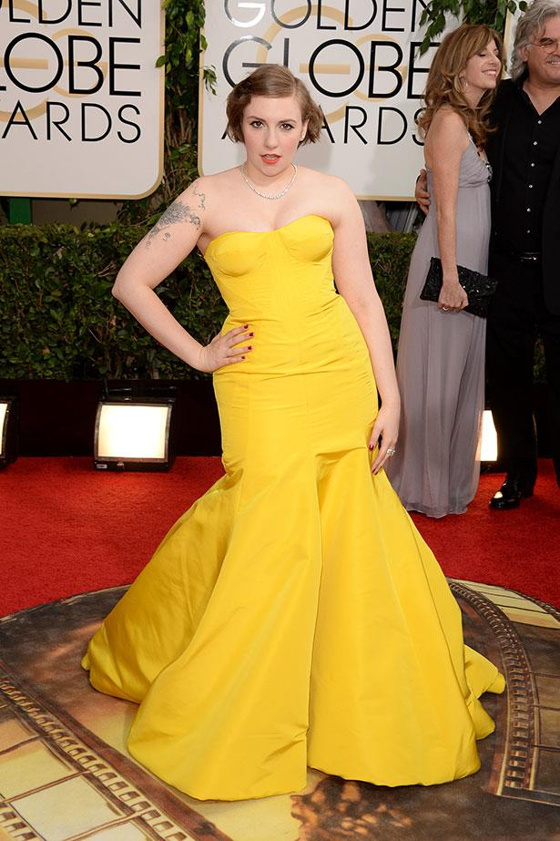 <strong>Lena Dunham in Zac Posen</strong><br> The old high school friends have a long fashion history: Posen designed Dunham's 2004 school graduation outfit. It was an obvious choice, then, for the actress to don a canary creation by Posen again this year. Ever the mentor, the designer even gave Lena a posing tutorial before heading onto the carpet.