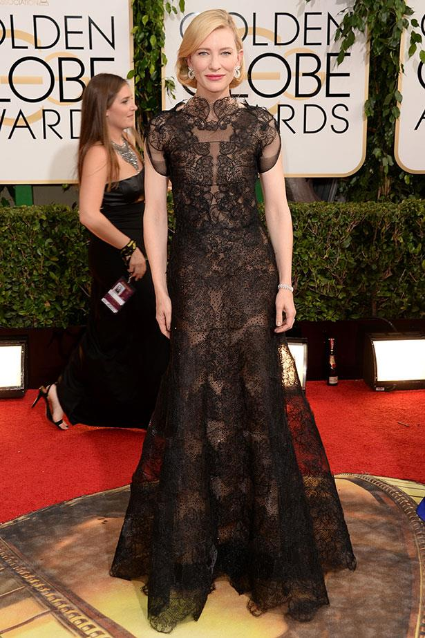 <strong>Cate Blanchett in Armani Privé <br></strong> An Armani-Blanchett moment is always packed with drama and this year's black lace creation is no exception. In her long-spanning career, the actress has loyally attended the designer's shows and worn his dresses consistently, premiere after premiere. Last year, Blanchett also nabbed an Armani fragrance deal. This year she nabbed the Best Actress in a Motion Picture Drama
