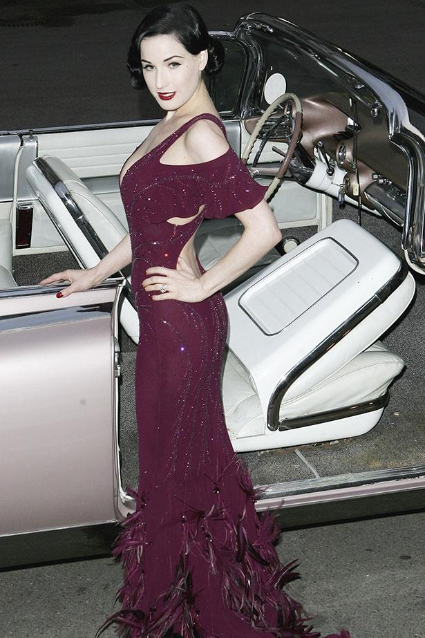 **Dita Von Teese**<br><br> The marriage may be over, but the gown remains forever etched in our memories. Never one for convention, the burlesque dancer donned a purple taffeta gown created by visionary Vivienne Westwood for her 2005 wedding to Marilyn Manson.</p>
