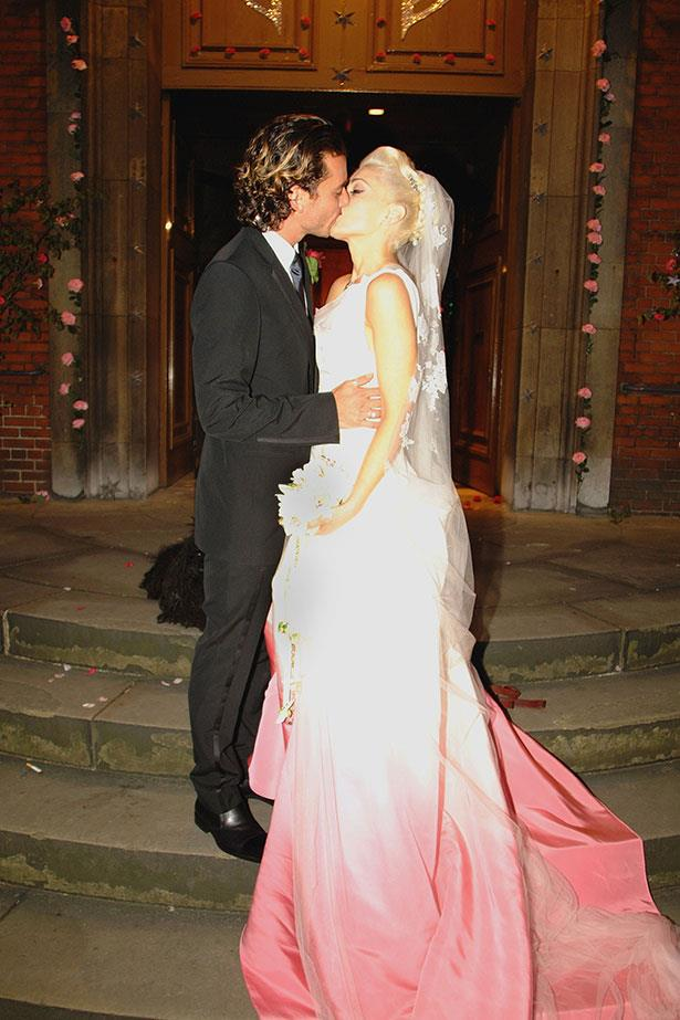 **Gwen Stefani**<br><br> She started off in white up top, but then Stefani's custom John Galliano for Dior frock took an ombré pink twist in the skirt. Very fitting for this rock n rock bride who wed (now ex-husband) Gavin Rossdale in 2002.</p>