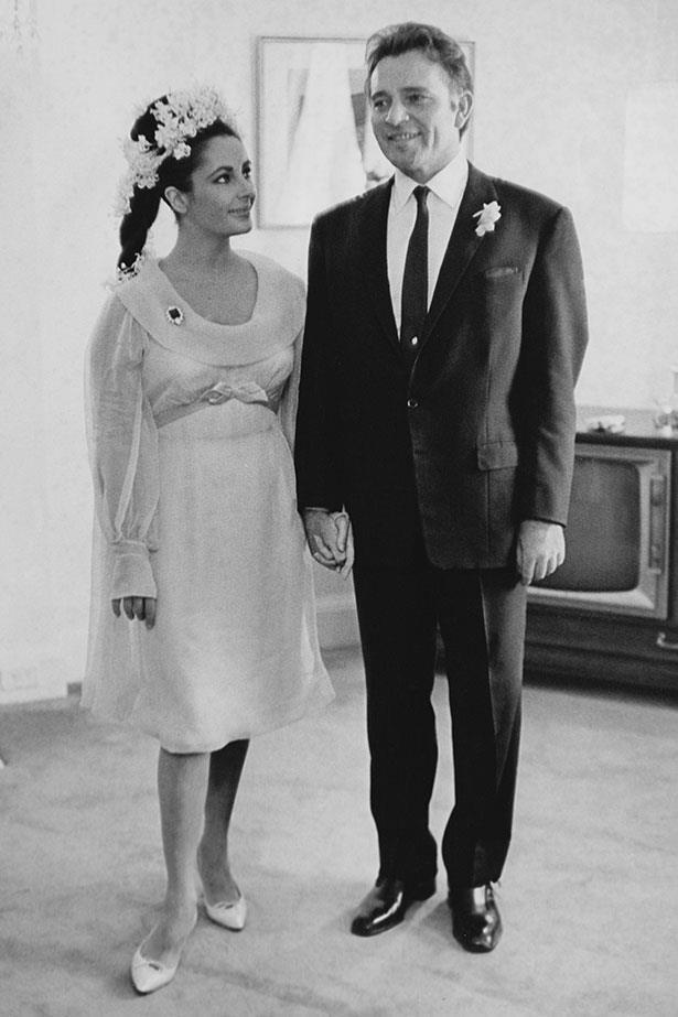 <p>Elizabeth Taylor</p> <p>Liz was one of the first to get the coloured wedding dress trend rolling. Granted, it was her fourth marriage, but her canary yellow frock and floral headpiece worn to marry <em>Cleopatra</em> co-star Richard Burton in 1964 was truly divine.</p>