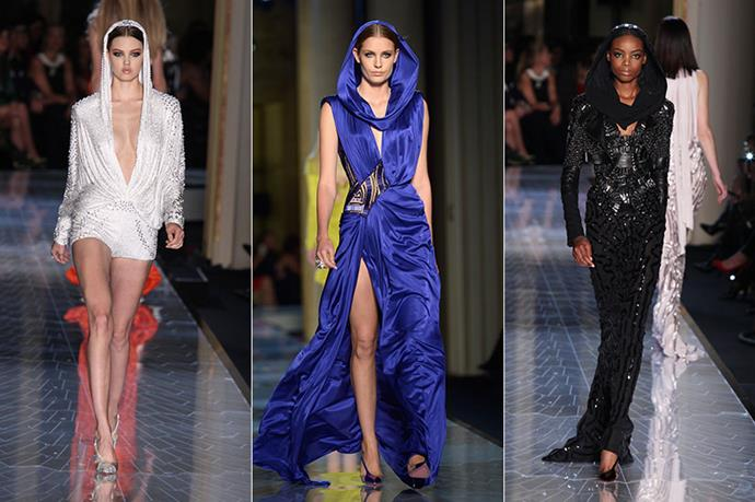 """<p><strong>3. Atelier Versace</strong></p> <p>Inspiration came in the form of Grace Jones for Atelier Versace. Models were sent down the runway wearing hoods in a nod to the actress' signature style. Prior to the show, the brand spoke of Jones saying: """"She left a sign as a strong, powerful woman, a power goddess. I wanted to embody that."""" Paying tribute to Jones, Versace invited designer Azzedine Alaïa to sit in the front row, as he was the first to create hoods for Grace Jones. </p>"""