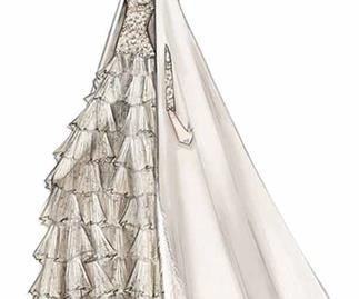 A sketch of the bride Tatiana Santo Domingo's Valentino Couture wedding gown