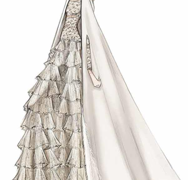 A sketch of the bride Tatiana Santo Domingo's Valentino Couture wedding gown