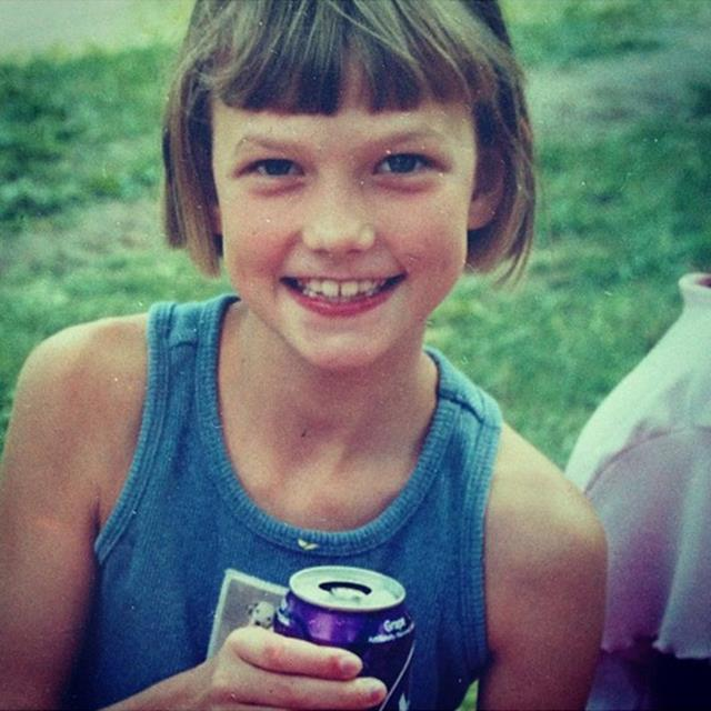 """<strong>Karlie Kloss</strong><br> Not a lot has changed in the past 14 years! """"I still have the same haircut as I did at 7-years old, as well as the unwavering love for grape soda,"""" tweeted Kloss, 21, of this happy snap."""