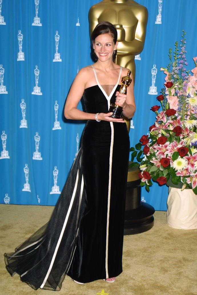 <strong>Julia Roberts, 2001</strong><br></br> While her peers went for custom-made, never seen before dresses, Julia chose to buck tradition by donning a vintage Valentino gown from 1982. In one night, she picked up a Best Actress award for <em>Erin Brockovich</em> and made pre-loved clothing cool again. Valentino later dubbed it one of the highlights of his career.