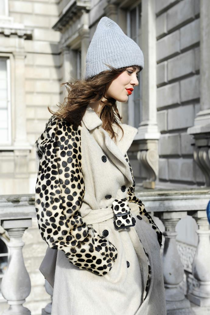A touch of leopard print never goes astray with a neutral ensemble