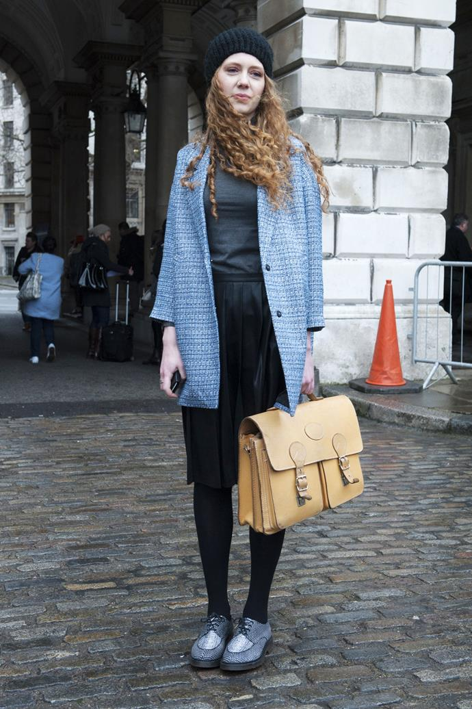 In true British style, pair your beanie with a Cambridge satchel for a pretty, preppy look