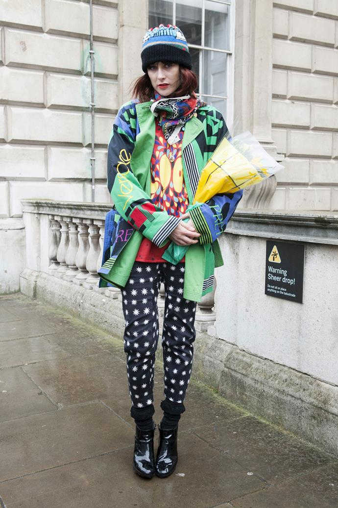 Weird and wonderful: clash your beanie with prints for a quirky fun look