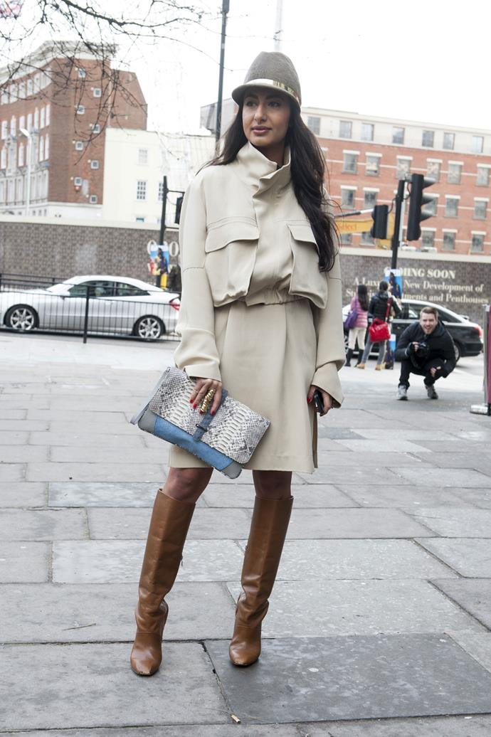 Channel your sexiest spy and style a beige coat with a head -to-toe tonal look