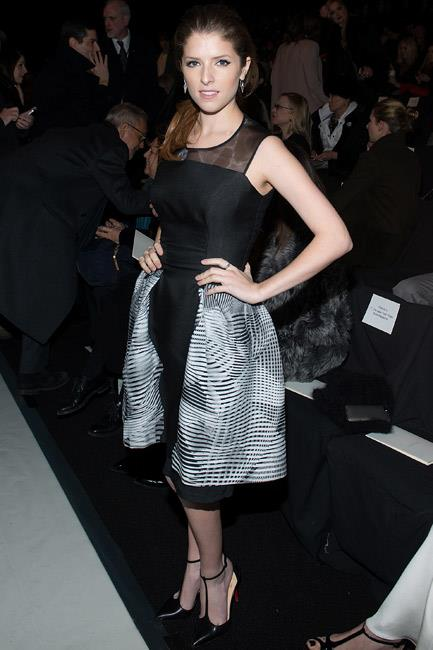 Flying the flag for Carolina Herrera at the American label's New York Fashion Week A/W 14-15 show, Anna Kendrick played with proportions with a puff-skirt frock.
