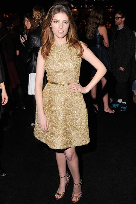 Anna Kendrick went for gold in head-to-toe Monique Lhuillier at the brand's New York Fashion Week A/W 14-15 show.