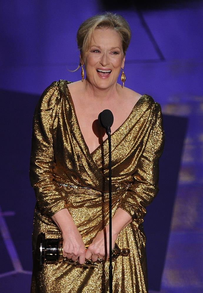 "<strong>Meryl Streep, 2012<br></strong><br> ""When they called my name I had this feeling I could hear half of America going, ""Oh no! Oh, come on why? Her? Again?... But, whatever."" Meryl Streep's speech for her Best Actress win for The Iron Lady had all the elements we've come to love about her – grace, kookiness, dry humour and impeccable delivery. She thanked her husband first, because ""when you thank your husband at the end of the speech, they play him out with the music…"", followed by her longtime makeup artist, and an emotional shout-out to her friends. Magnificent."