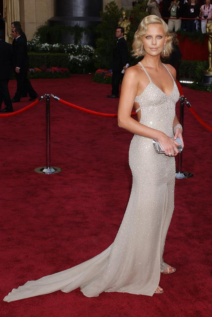 Charlize Theron at the 76th Academy Awards, 2004, wearing Gucci. She took home Best Actress for Monster.