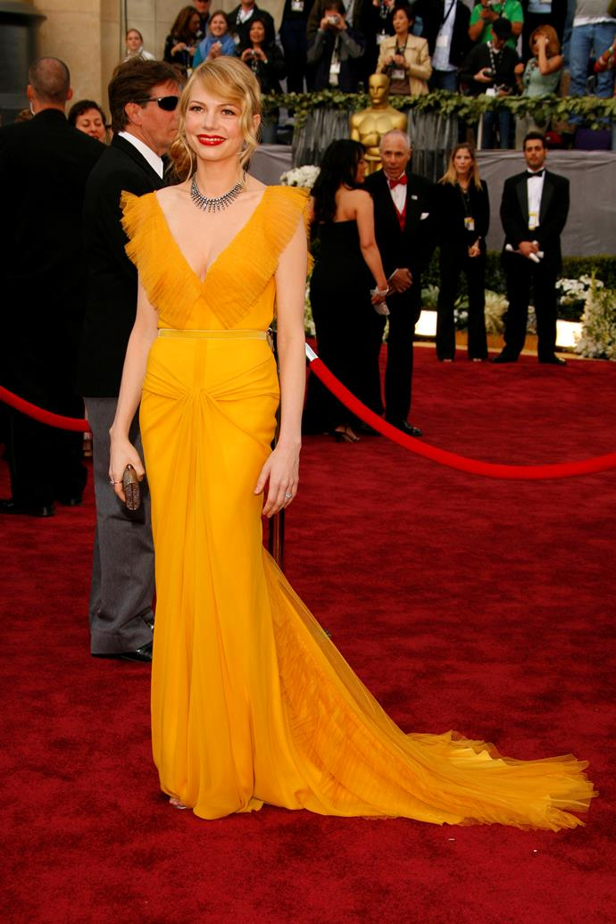 Michelle Williams at the 78th Academy Awards, 2006, wearing Vera Wang.