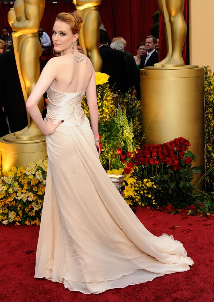 Evan Rachel Wood at the 81st Academy Awards, 2009, wearing Elie Saab couture.