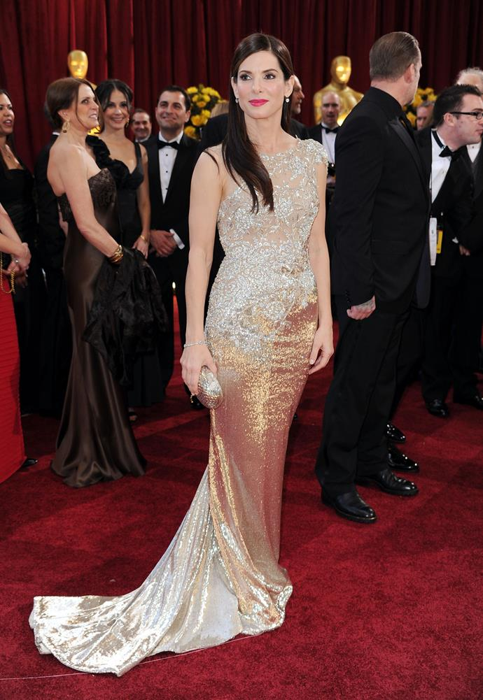 Sandra Bullock at the 82nd Academy Awards, 2010, wearing Marchesa. She won Best Actress for <em>The Blind Side</em>.