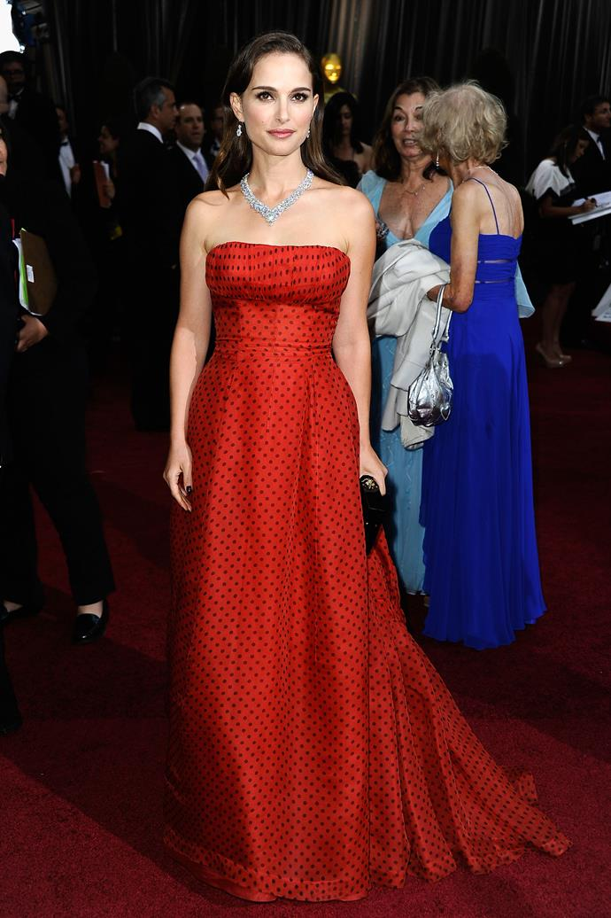 Natalie Portman at the 84th Academy Awards, 2012, wearing vintage Christian Dior.