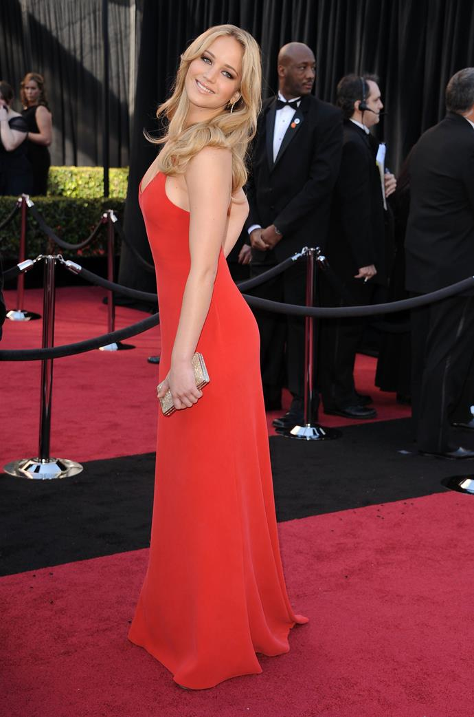 Jennifer Lawrence at the 83rd Academy Awards, 2011, wearing Calvin Klein.