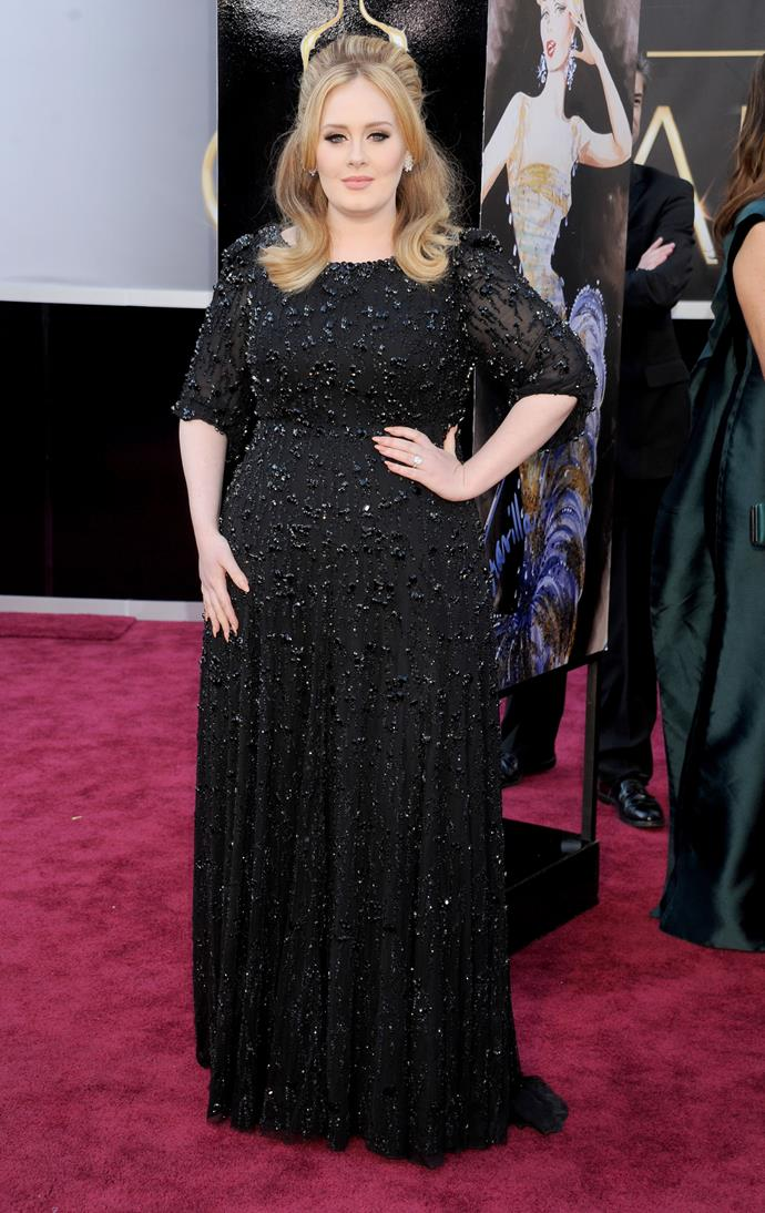 Adele at the 85th Academy Awards, 2013, wearing Jenny Packham and Harry Winston jewellery. She won the award for Best Original Song, Skyfall.