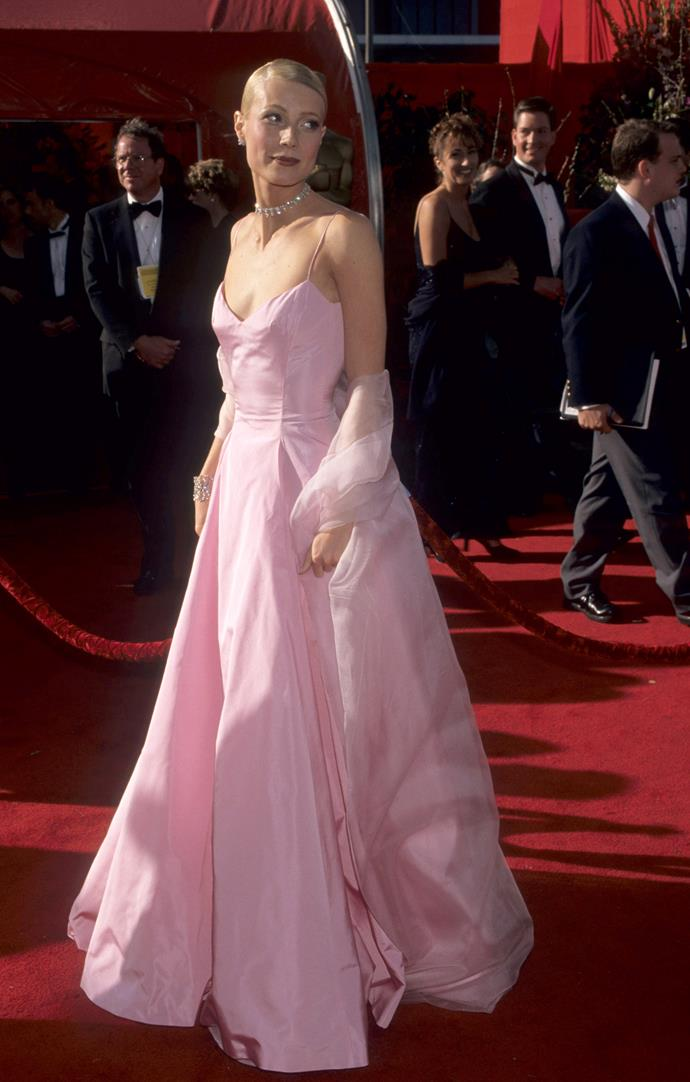 Gwyneth Paltrow at the 71st Academy Awards, 1999, wearing Ralph Lauren. She won Best Actress for Shakespeare In Love
