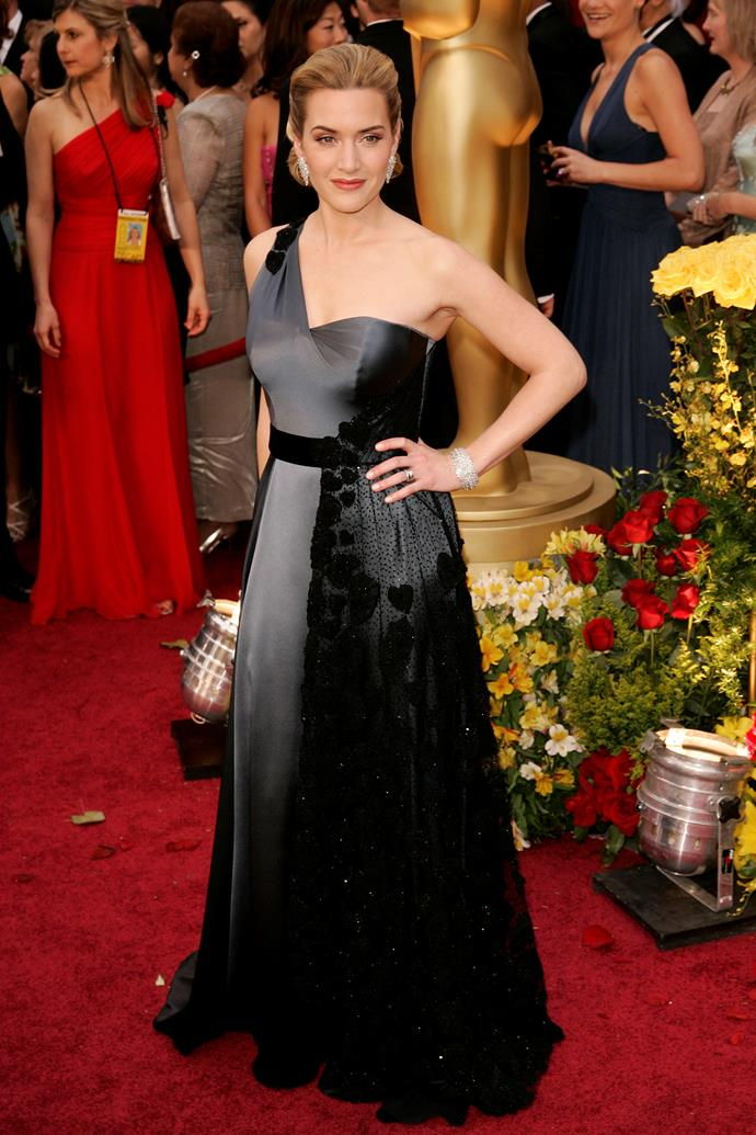 Kate Winslet at the 81st Acedemy Awards, 2009, wearing Yves Saint Laurent and Chopard jewllery. She won Best Actress for The Reader
