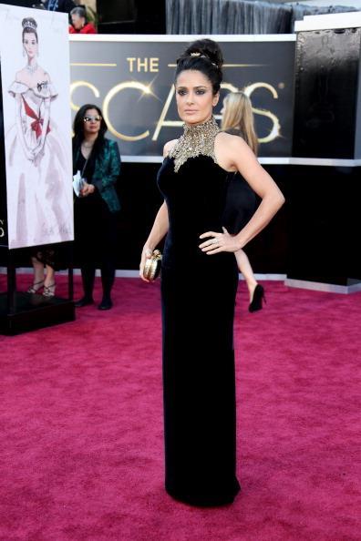 Salma Hayek at the 85th Academy Awards, 2012, wearing Alexander McQueen