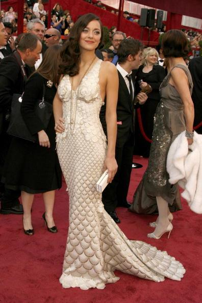 Marion Cotillard at the 80th Academy Awards, 2008, wearing Jean Paul Gaultier. She won Best Actress for La Vie en Rose.