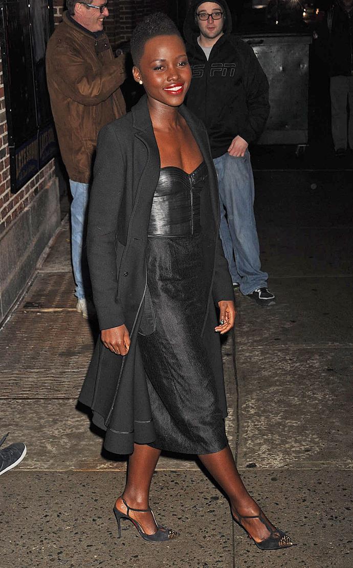 Lupita Nyong'o wearing J. Mendel at the <em>Late Show</em> with David Letterman