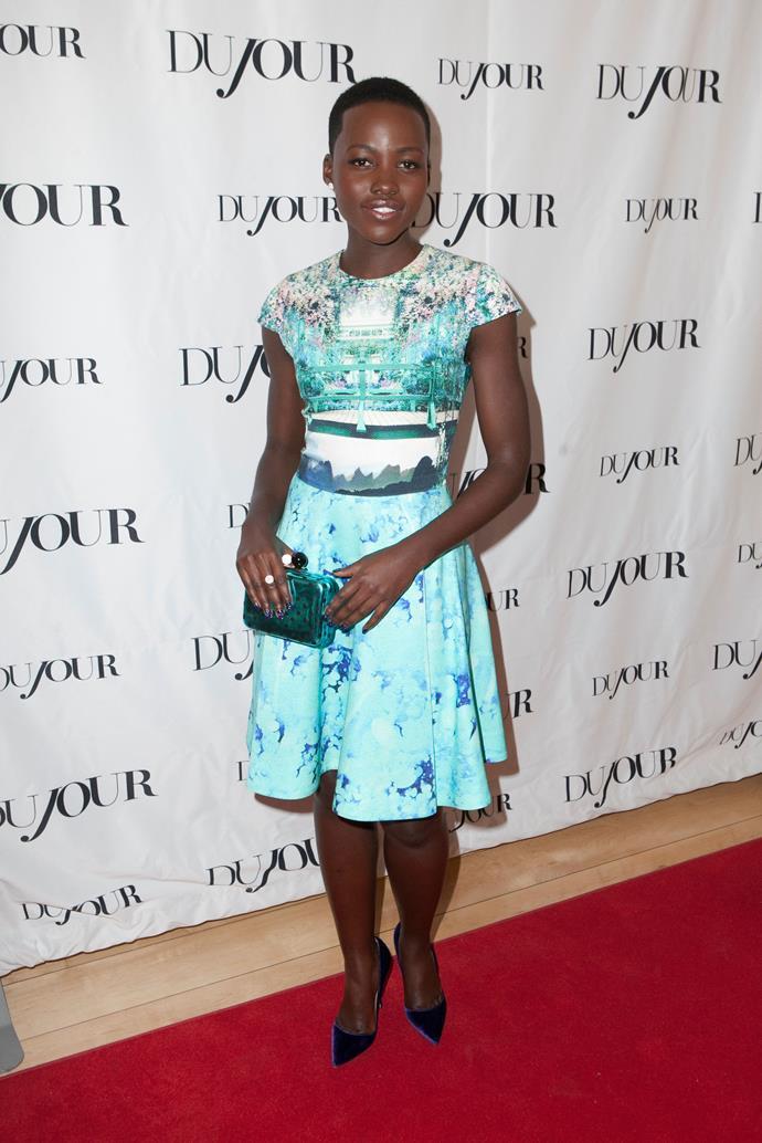 Lupita Nyong'o wearing Mary Katrantzou at the DuJour Magazine Cover Party
