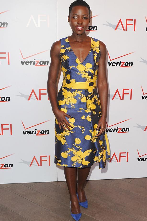 Lupita Nyong'o wearing Carolina Herrera at the AFI Awards 2014