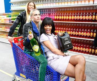 Cara Delevingne and Rihanna on the Chanel Supermarket runway