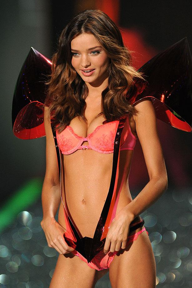 Miranda Kerr dressed as a giant present at the Victoria's Secret show in 2009.