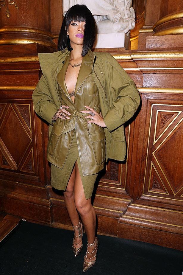 Thursday: Rihanna first drops into Balmain, wearing buttery leather SS14 Balmain, natch.