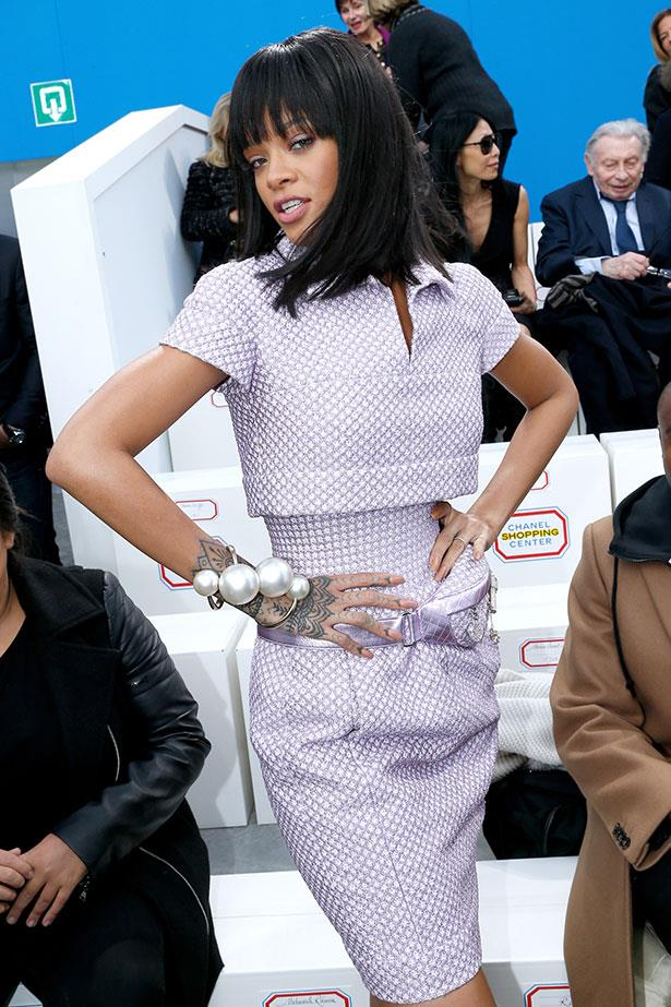 Rihanna at Chanel in SS14 Chanel.
