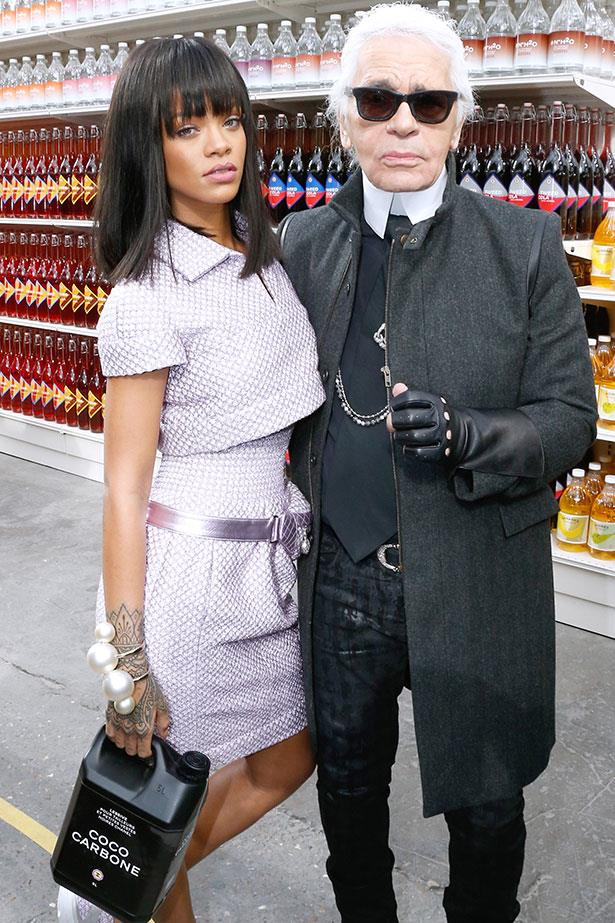 Rihanna with Karl Lagerfeld at Chanel