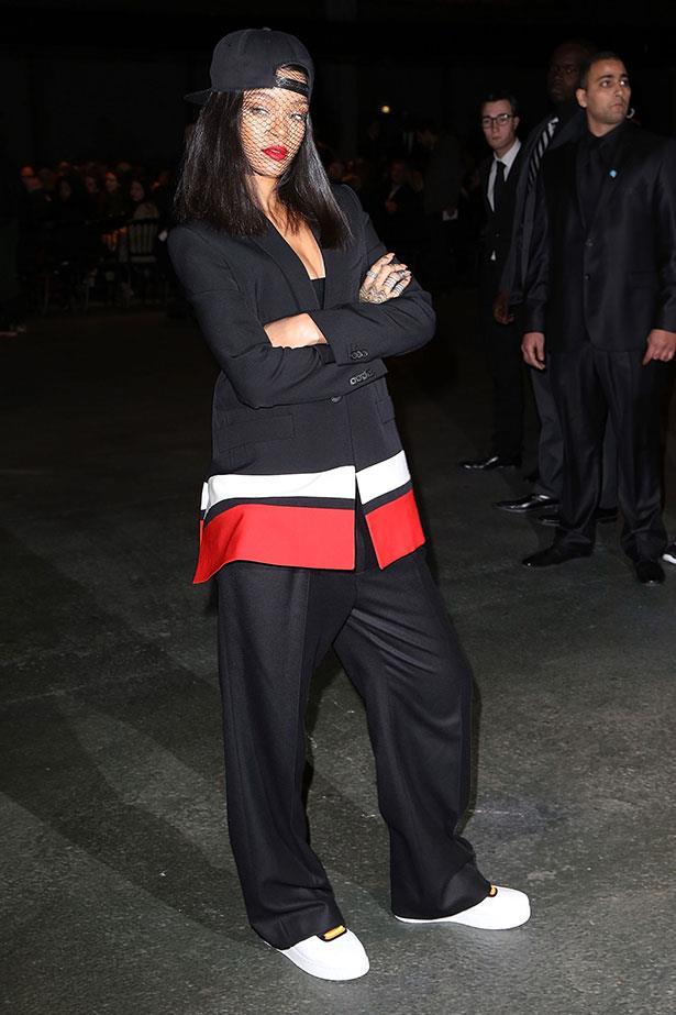 Sunday: Bad girl Ri Ri with Mega 'tude at Givenchy in Givenchy.