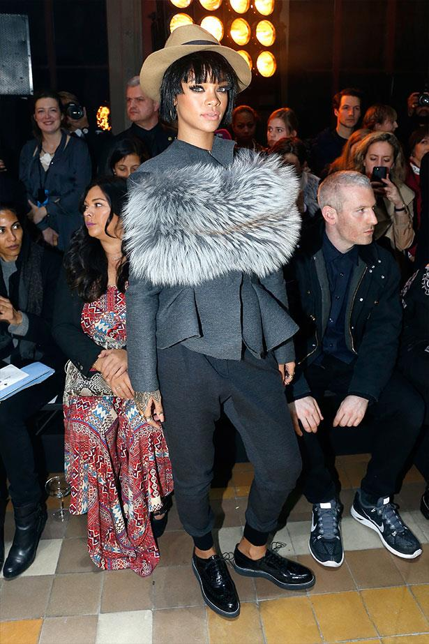 Thursday: Rihanna drops into Lanvin, wears Lanvin and looks semi-casual, for once.