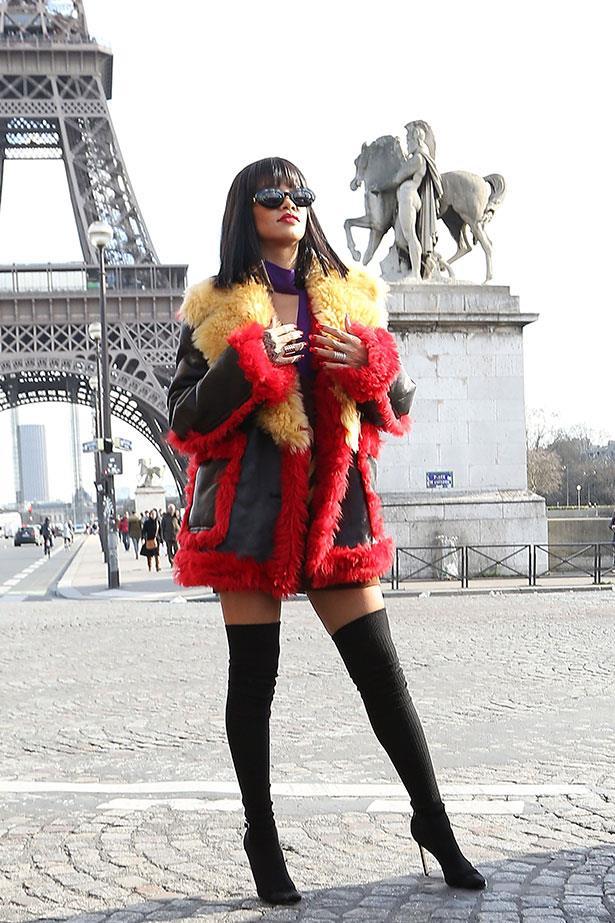Wednesday: Rihanna in fresh Prada, outside the Miu Miu show.