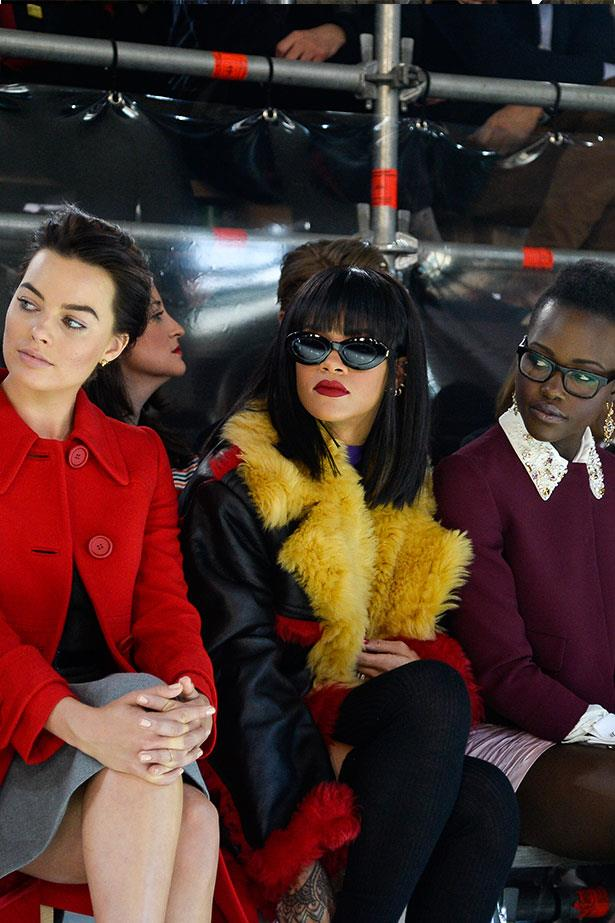 <em>ELLE</em> Covergirl Margot Robbie, Rihanna and Lupita Nyong'o at the Miu Miu show. The impressive line-up of A-listers also included: current faces of the brand, Léa Seydoux and Adèle Exarchopoulos of <em>Blue Is the Warmest Color</em>, Jared Leto, Terry Richardson, Elizabeth Olsen, Elle Fanning and, <em>Nymphomaniac</em>'s Stacy Martin and ELLE covergirl Margot Robbie.