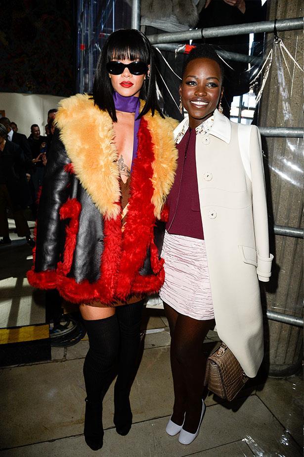 Rihanna with Lupita Nyong'o at Miu Miu.