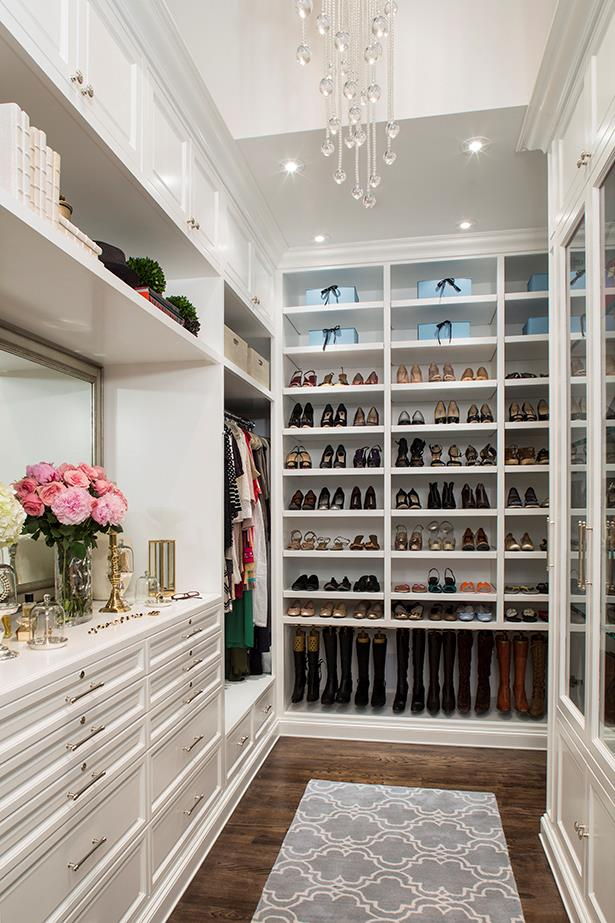 """<strong>Invest in organisation</strong><br><br> """"Invest in storage boxes to house seasonal items, including boots.  I designed leather boxes for this very purpose!  (<a href=""""http://laclosetdesign.com/"""">www.laclosetdesign.com</a>). Other options to consider are: Recessed, pop-up island safes, triple hanging using a variety of hanging rods, pull-out step stools, three-way mirrors or vanity mirrors with various mood settings, refrigerator drawers for storing your cosmetics (and bottled water)!, coffee makers, sunglass displays, recessed hooks for hanging tote bags. As you can see, the sky's the limit when creating your dressing room haven!"""""""